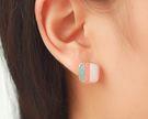 韓版  現貨夾式耳環可愛方形條紋無耳洞耳...