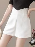 休閒短褲 休閑褲女顯瘦百搭2021新款夏季時尚釘珠短褲寬松外穿高腰闊腿褲潮