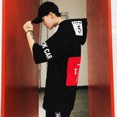 韓版男裝七分袖T恤潮流嘻哈連帽7分中袖