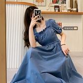 大碼溫柔風方領洋裝女夏2021新款胖妹妹法式復古設計感小眾長裙 幸福第一站