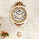 歐式客廳掛鐘創意靜音復古搖擺鐘錶田園時鐘家用壁鐘藝術裝飾