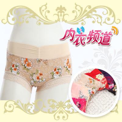 內衣頻道 D0992 平口印花蕾絲褲 彈性優- FREE,3入組