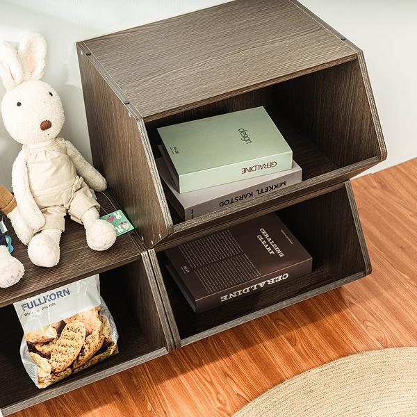 樂嫚妮 堆疊 3入組 玩具收納櫃-深胡桃木色