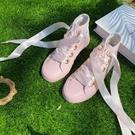 高筒鞋 絲帶高幫帆布鞋1970s日繫百搭仙女小眾設計小白鞋2021新款女鞋夏