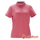 【wildland 荒野】女 彈性本布領POLO上衣『瑪瑙紅』0A71639 T恤 POLO衫 上衣 短袖 排汗 休閒 戶外 登山