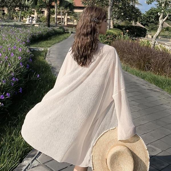 雪紡外套 2021夏新款巴厘島海邊度假輕薄壓褶雪紡開衫女中長薄款寬鬆防曬衣 非凡小鋪