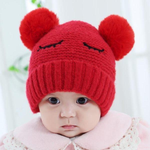 嬰兒帽子秋冬0-12個月毛球加厚1歲寶寶毛線帽第七公社