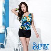 【Summer Love 夏之戀】夏日印花連身四角泳衣(E16711)