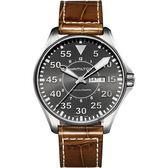 Hamilton 漢米爾頓 Khaki Aviation卡其飛行機械手錶-灰x咖啡/46mm H64715885