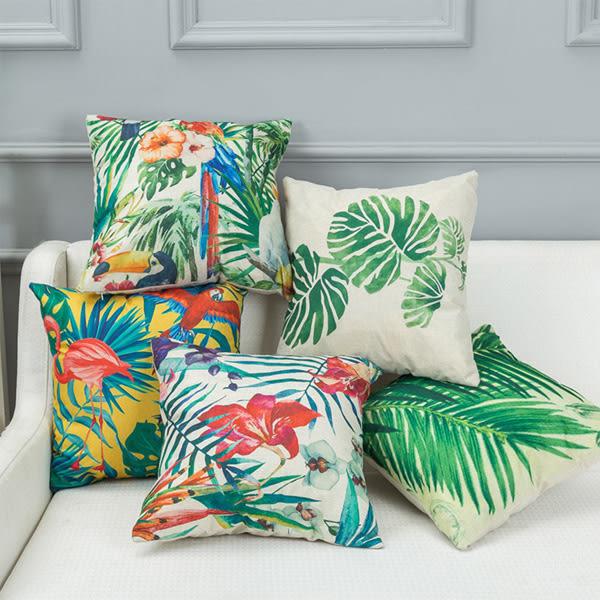 【BlueCat】熱帶植物與花鳥系列棉麻抱枕腰枕套 枕頭套