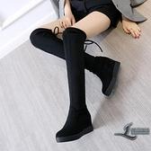 絨面彈力靴膝上靴黑色系帶女靴厚底加絨內增高圓頭靴子【邻家小鎮】