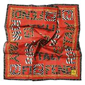 FENDI動物紋字母LOGO純棉帕巾(橘褐色)989006-12