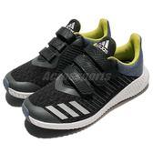 adidas 慢跑鞋 FortaRun CF K Wide 黑 藍 緩震舒適 魔鬼氈 運動鞋 童鞋 中童鞋【PUMP306】 CQ0000