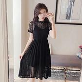 蕾絲洋裝 蕾絲洋裝夏女新款小個子中長款溫柔chic仙女裙子收腰小黑裙 衣櫥秘密