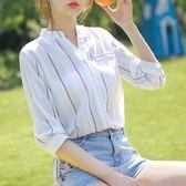 夏季新款V領七分袖雪紡襯衫女韓版豎條紋中袖百搭上衣 GB3349『樂愛居家館』