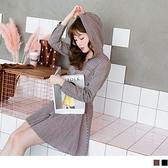 《DA2841》日系格紋高腰傘襬開襟連帽洋裝--適 XL~4L OrangeBear