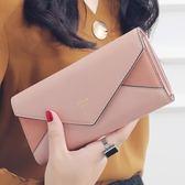 長夾 KQueenStar女士錢包 女2018年新款日韓大鈔夾磨砂信封錢包皮夾 父親節大優惠