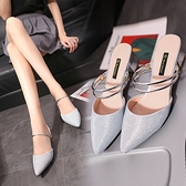 2020新款時尚百搭粗跟中跟包頭半拖鞋女夏外穿銀色亮片高跟涼拖鞋 【ifashion·全店免運】