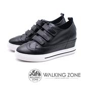 WALKING ZONE 優雅壓紋內增高鬆糕女鞋-黑(另有白)