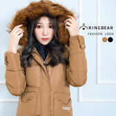 大衣--高雅氣質保暖毛領連帽深口前口袋羽絨棉長版外套(黑.卡其XL-3L)-J326眼圈熊中大尺碼◎