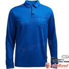 Wildland 荒野 0A71656-77中藍色 男椰炭紗本布領長袖上衣 椰碳纖維/抗UV/涼爽散熱/吸濕快乾/POLO衫