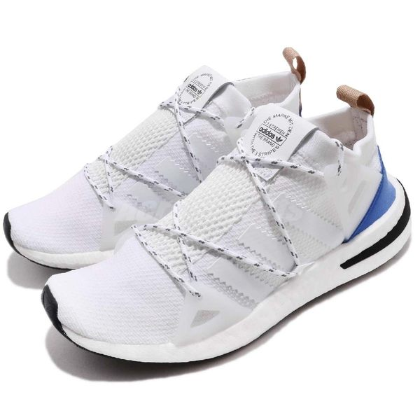 adidas 慢跑鞋 ARKYN W 白 藍 襪套式 繫帶芭蕾系列 回饋中底 運動鞋 女鞋【PUMP306】 CQ2748