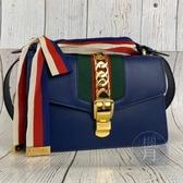 BRAND楓月 GUCCI 古馳 421882 藍色 SYLVIE 綠紅綠織帶 藍紅白織帶 金扣 斜背包 手拿包