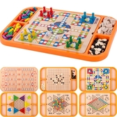 飛行棋五子棋多功能游戲棋盤跳跳棋小學生木質兒童棋類益智力玩具