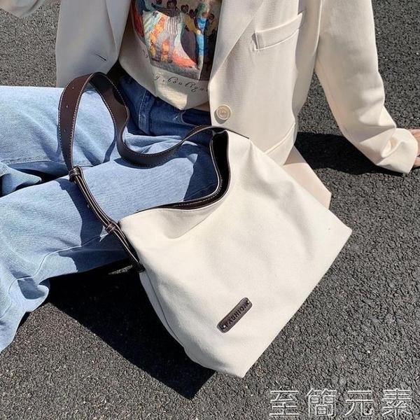 夏天大包包女包流行新款網紅時尚帆布大容量單肩包百搭托特包 雙十二全館免運