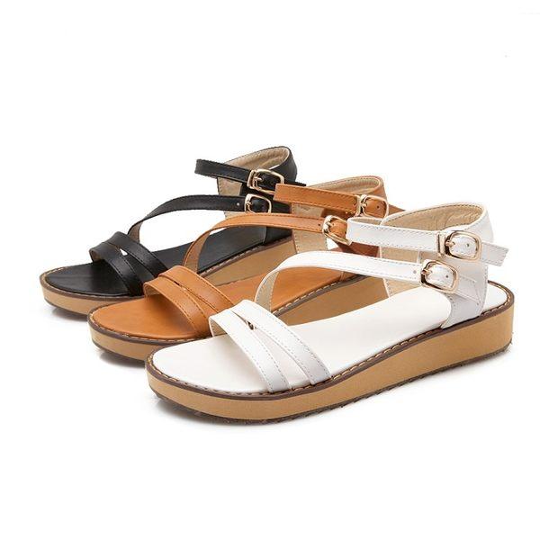 丁果、大尺碼女鞋34-43►甜美雙扣帶平底涼鞋*3色