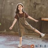 女童背帶褲套裝韓版中大兒童套裝兩件套潮夏季【淘夢屋】