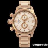 ELEGANTSIS 玫瑰金個性女孩超大錶面三眼左冠鋼錶 43mm ELJT48S-OO11MA 公司貨 | 名人鐘錶·