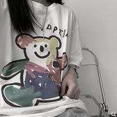 短袖T恤白色T恤女夏季韓版ins復古卡通塗鴉印花寬鬆打底衫內搭短袖上衣潮  迷你屋 618狂歡