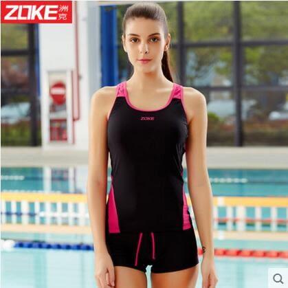 泳衣女分體平角兩件套運動泳裝韓國顯瘦背心式【黑色/玫紅】