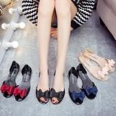 涼鞋女夏果凍涼鞋平底塑料魚嘴百搭沙灘鞋
