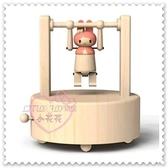 ♥小花花日本精品♥ Hello Kitty美樂蒂 限量木製公仔運動選手吊單槓造型 音樂盒療癒小物