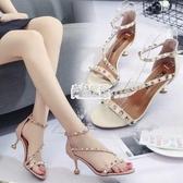 【免運】高跟鞋夏季新款正韓百搭貓跟鉚釘細跟一字搭扣小清新少女涼鞋