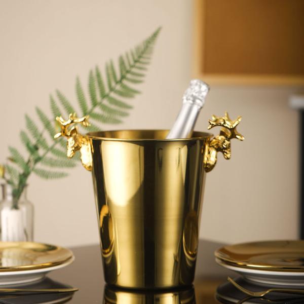 輕奢鹿頭冰桶歐式復古高檔香檳桶不銹鋼冰塊桶紅酒冰粒桶奢華酒具 小明同學