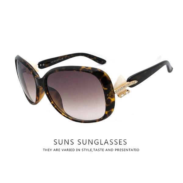 女款墨鏡 精緻貝殼裝飾鑲鑽點綴 優雅時尚太陽眼鏡流行抗UV400