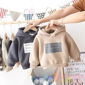 兒童加絨衛衣韓版兒童字母連帽套頭上衣寶寶外套【聚可愛】