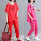 洋氣中大尺碼 女裝微胖mm夏季新款減齡套裝短袖T恤休閒長褲時尚兩件套