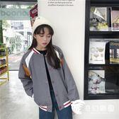 棒球服-秋裝韓版寬鬆立領刺繡字母棒球服外套 百搭長袖上衣女學生-奇幻樂園