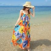 沙灘裙雪紡連身裙修身顯瘦長裙 ☸mousika