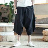 嘻哈褲韓版潮流七分褲大腳低襠褲垮褲夏季薄款寬鬆闊腿褲男飛鼠褲   多莉絲旗艦店