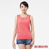 BOBSON 女款手縫鑽飾橫條背心 (25073-26)