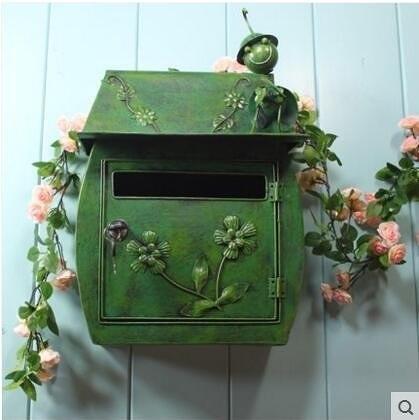 昆蟲綠色歐式古典別墅信箱 田園復古掛牆帶鎖信報箱郵筒 防水室外郵箱