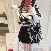 大披肩圍巾  韓版氣質黑白撞色仿羊絨圍巾女保暖圍脖披肩  『歐韓流行館』