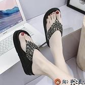 人字拖女百搭沙灘鞋網美厚底串珠涼拖鞋【淘夢屋】