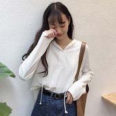 正韓純色連帽抽繩長袖T恤寬鬆顯瘦上衣打底衫學生女裝潮【618好康又一發】