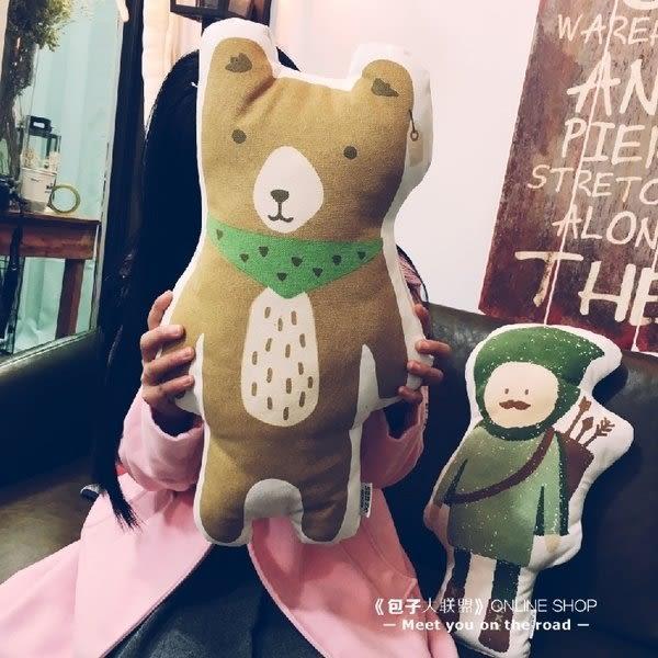 【發現。好貨】韓國獵人小浣熊 卡通純棉抱枕靠枕靠墊 進口優質拍攝道具 可愛抱枕 午睡枕